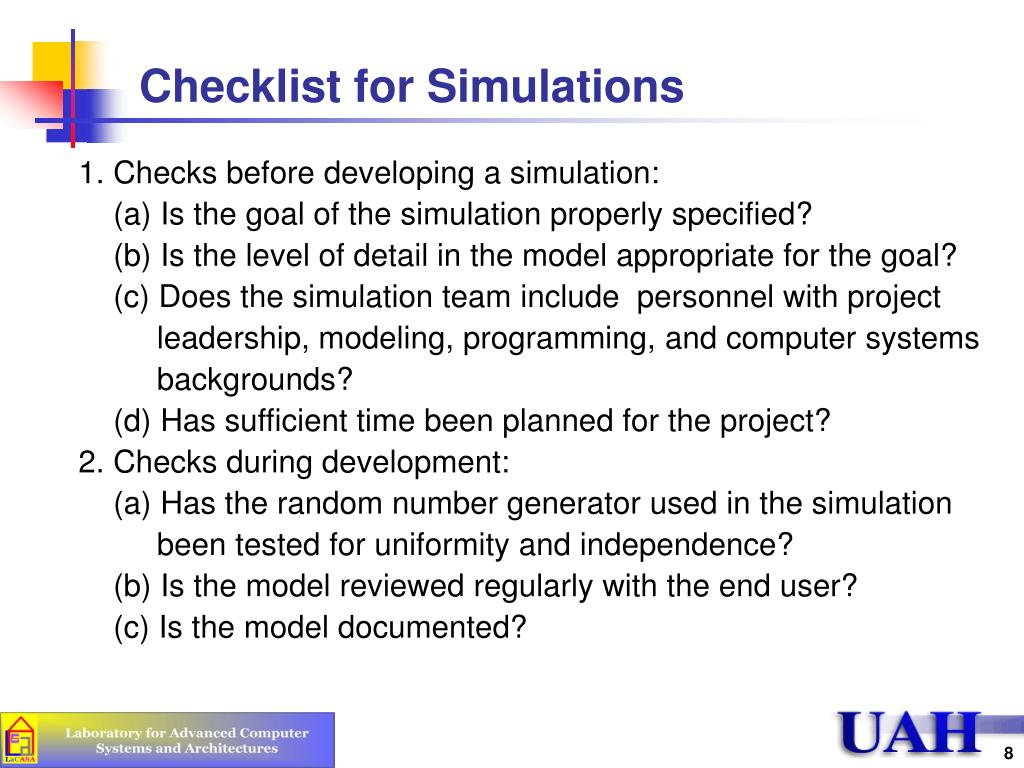Checklist for Simulations