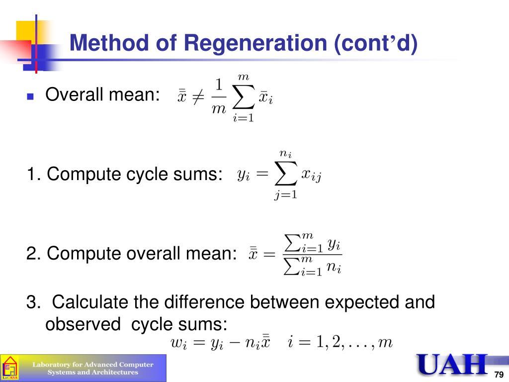 Method of Regeneration (cont