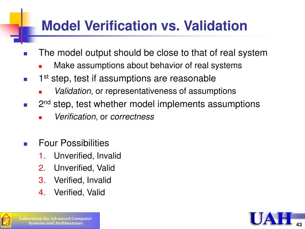 Model Verification vs. Validation