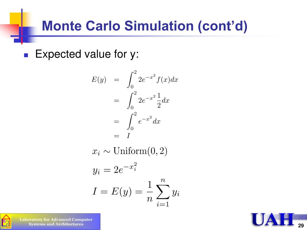 Monte Carlo Simulation (cont'd)