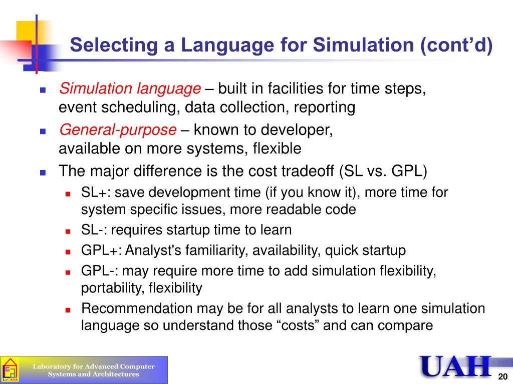Selecting a Language for Simulation (cont'd)