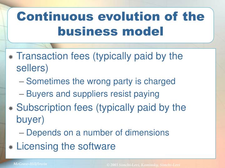 Continuous evolution of the business model