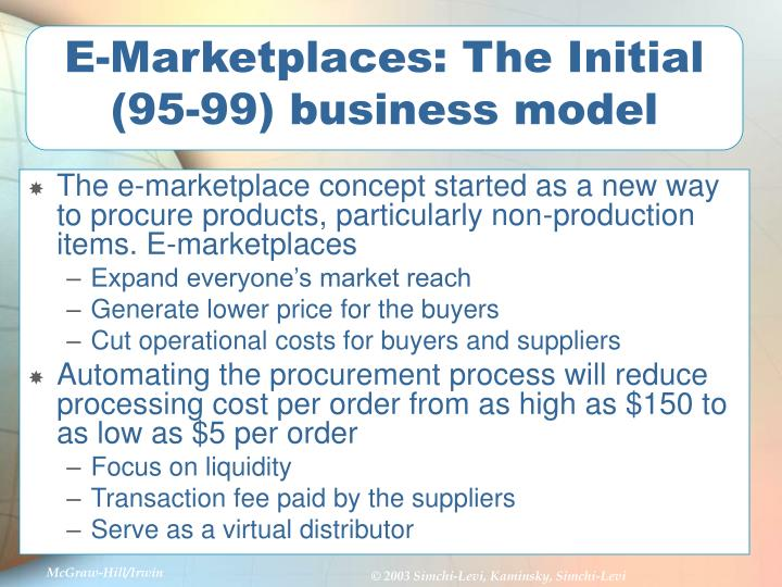 E-Marketplaces: The Initial (95-99) business model