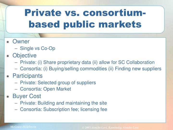 Private vs. consortium-based public markets