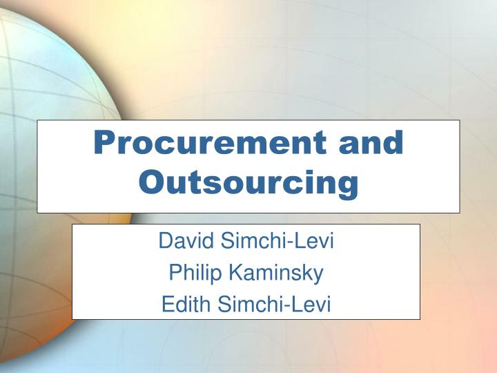Procurement and Outsourcing