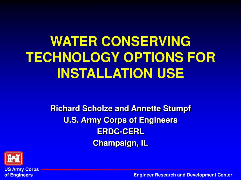 WATER CONSERVING TECHNOLOGY OPTIONS FOR INSTALLATION USE
