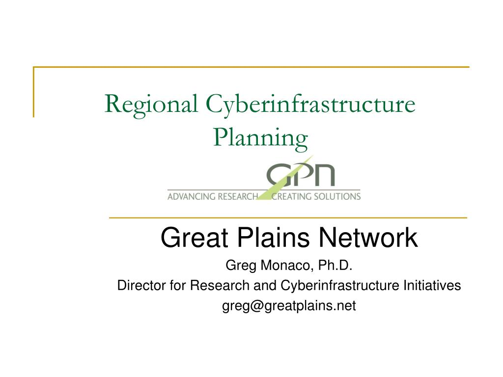 regional cyberinfrastructure planning l.