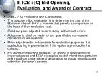 ii icb c bid opening evaluation and award of contract31