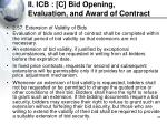 ii icb c bid opening evaluation and award of contract34