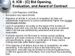 ii icb c bid opening evaluation and award of contract37