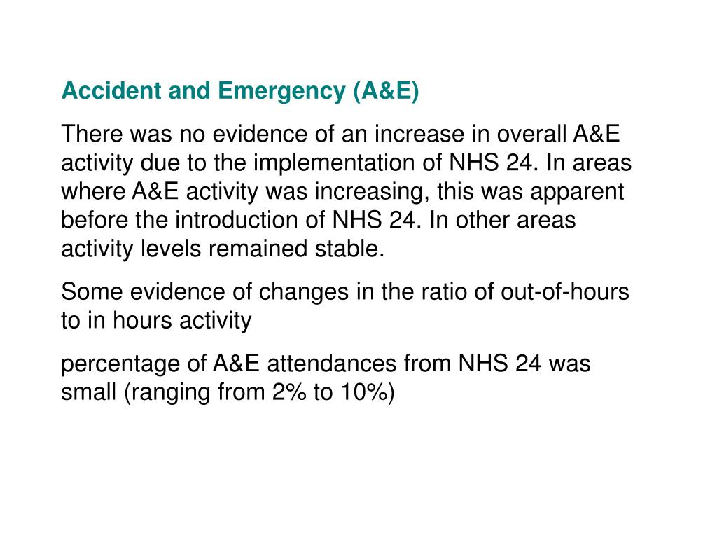Accident and Emergency (A&E)