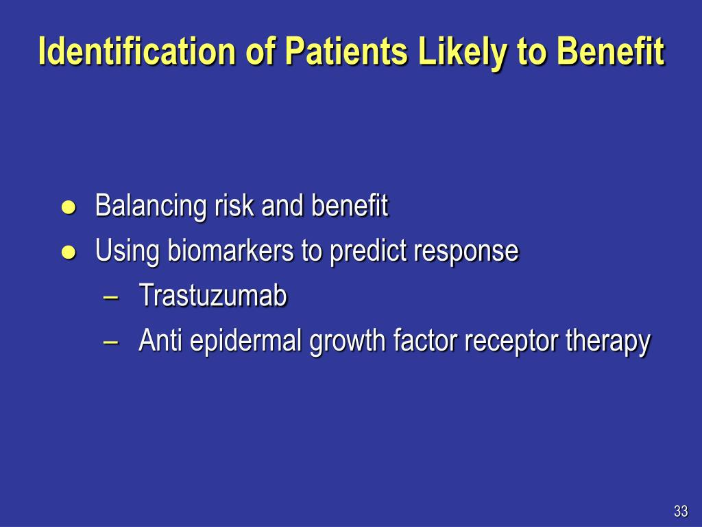 Identification of Patients Likely to Benefit