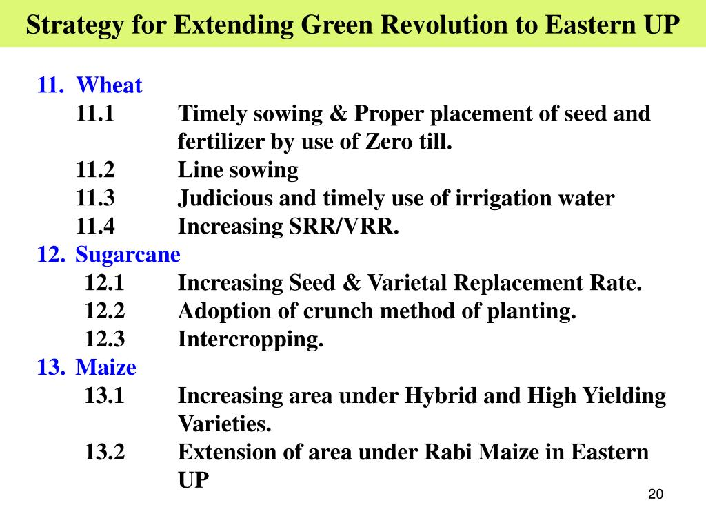 Strategy for Extending Green Revolution to Eastern UP