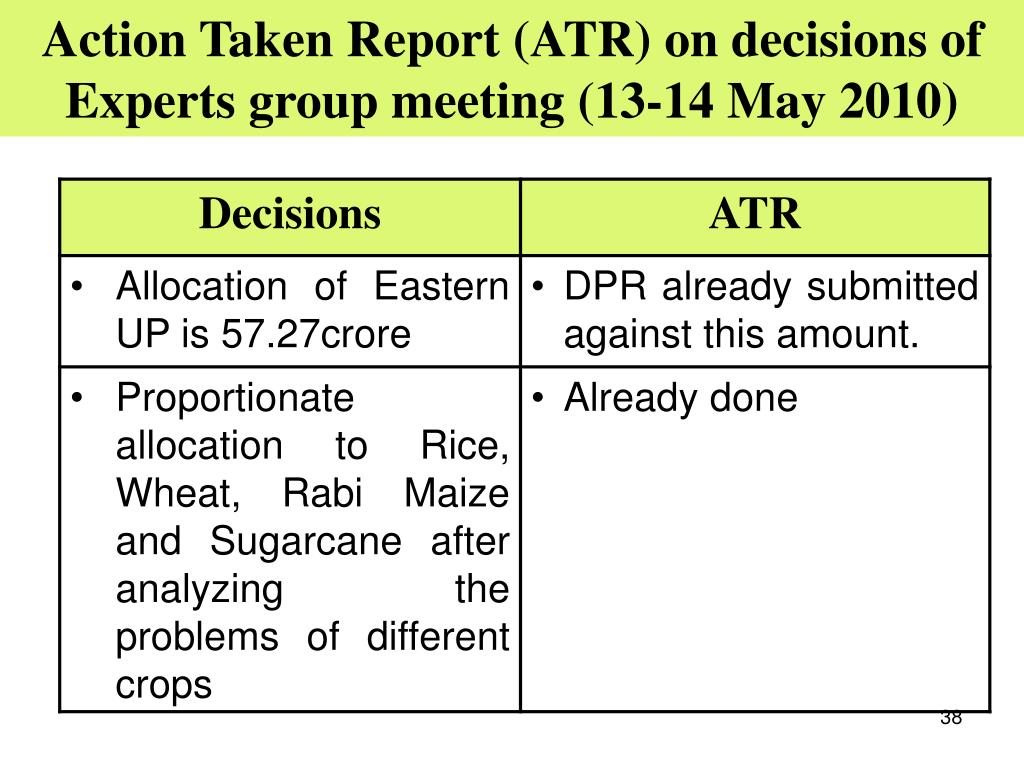 Action Taken Report (ATR) on decisions of Experts group meeting (13-14 May 2010)