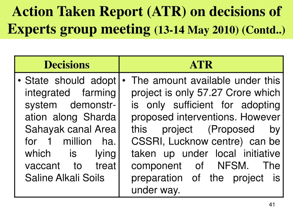 Action Taken Report (ATR) on decisions of Experts group meeting