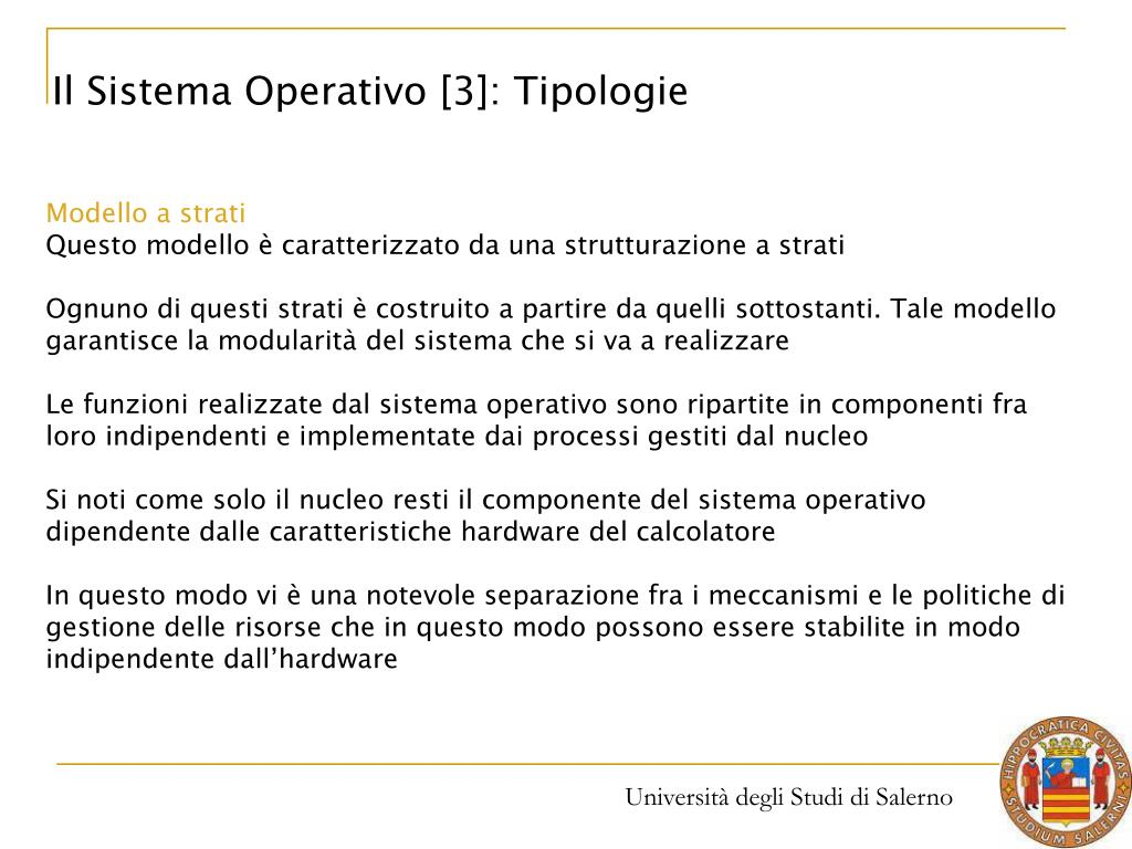 Il Sistema Operativo [3]: Tipologie