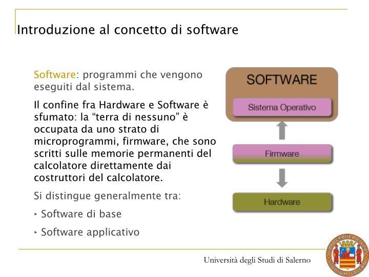 Introduzione al concetto di software