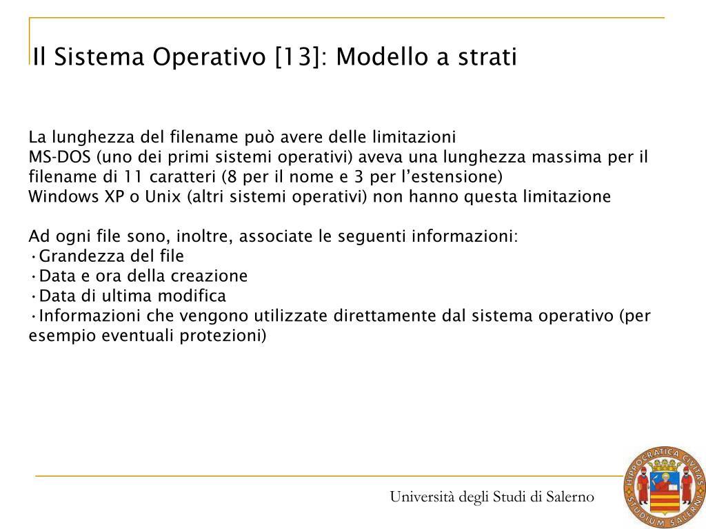 Il Sistema Operativo [13]: Modello a strati