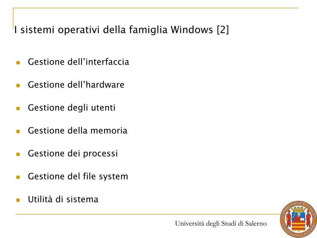 I sistemi operativi della famiglia Windows [2]