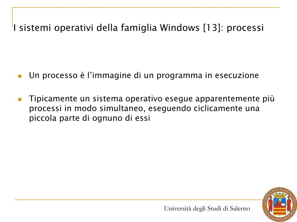 I sistemi operativi della famiglia Windows [13]: processi