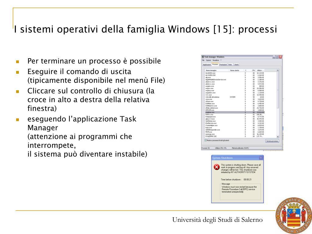 I sistemi operativi della famiglia Windows [15]: processi