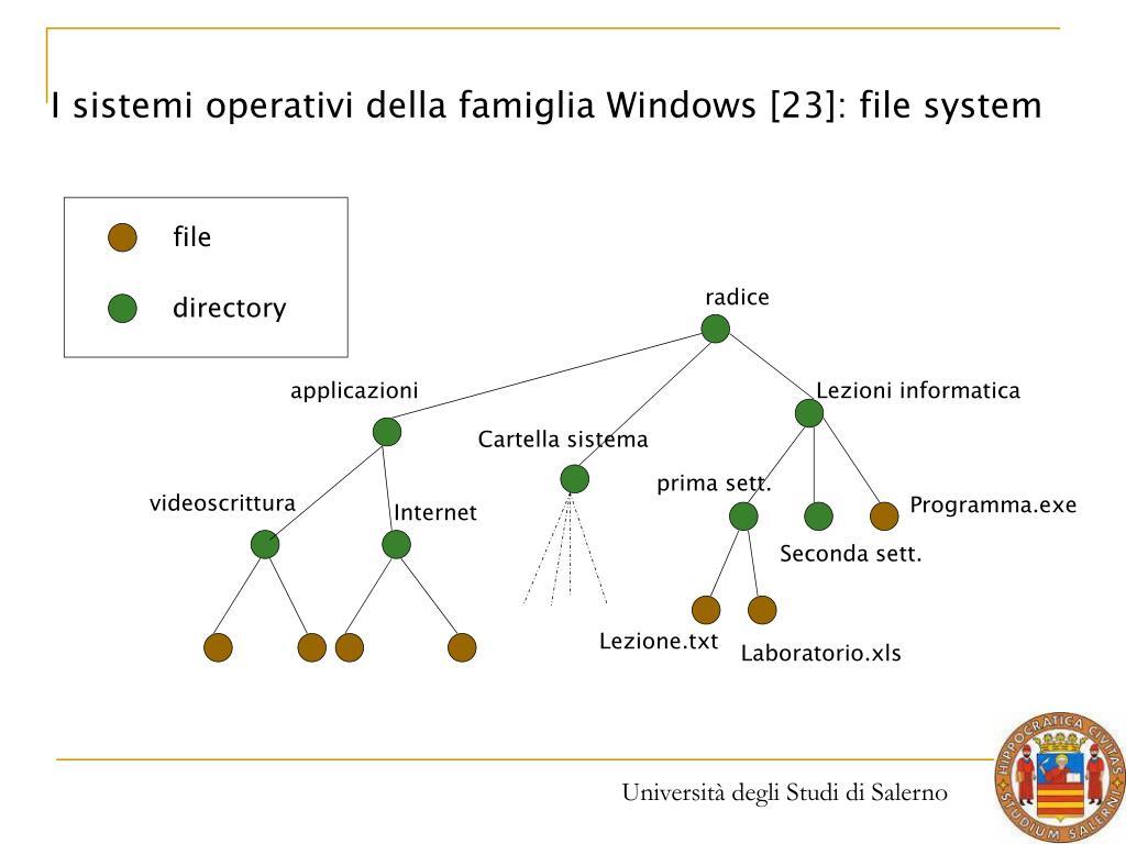 I sistemi operativi della famiglia Windows [23]: file system
