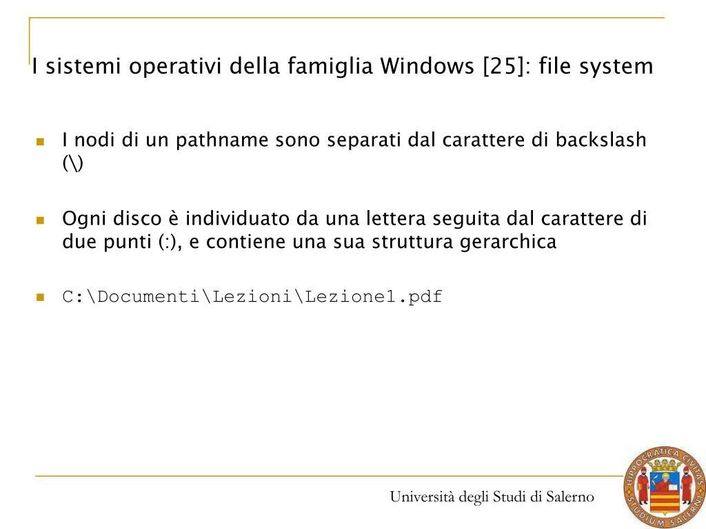 I sistemi operativi della famiglia Windows [25]: file system