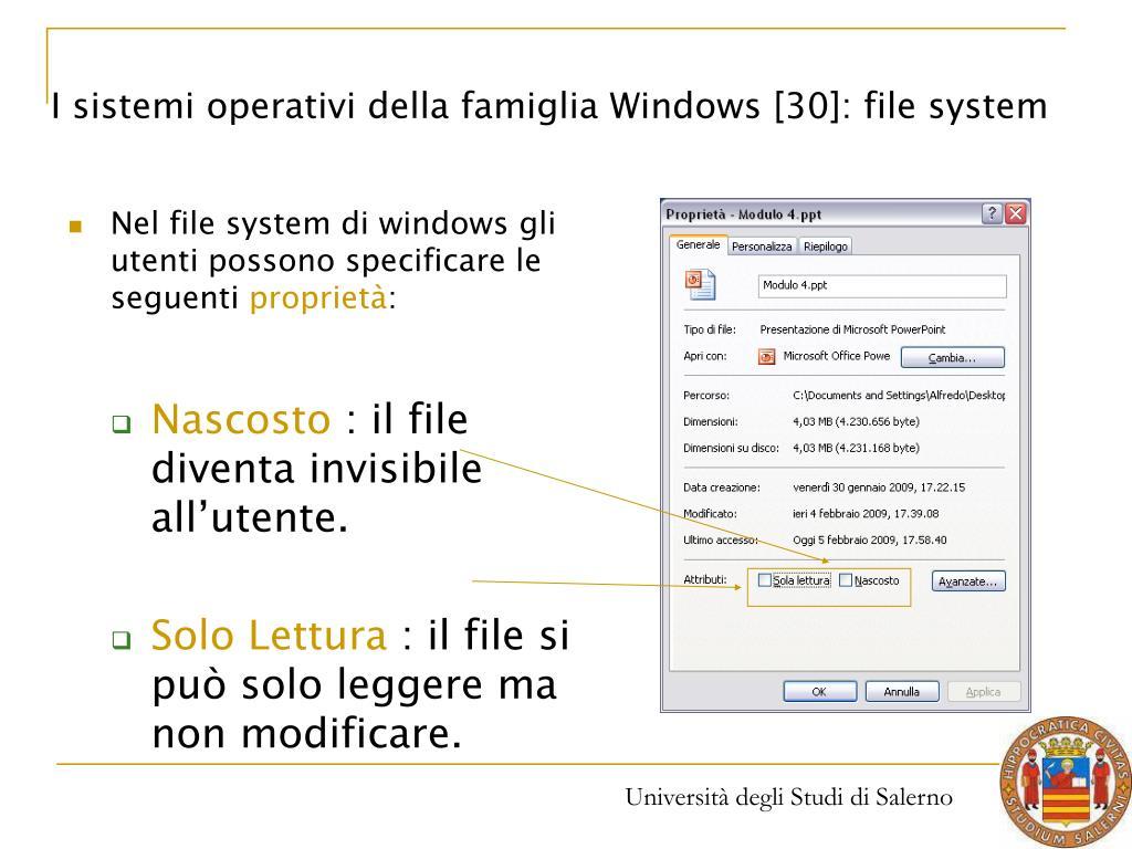 I sistemi operativi della famiglia Windows [30]: file system