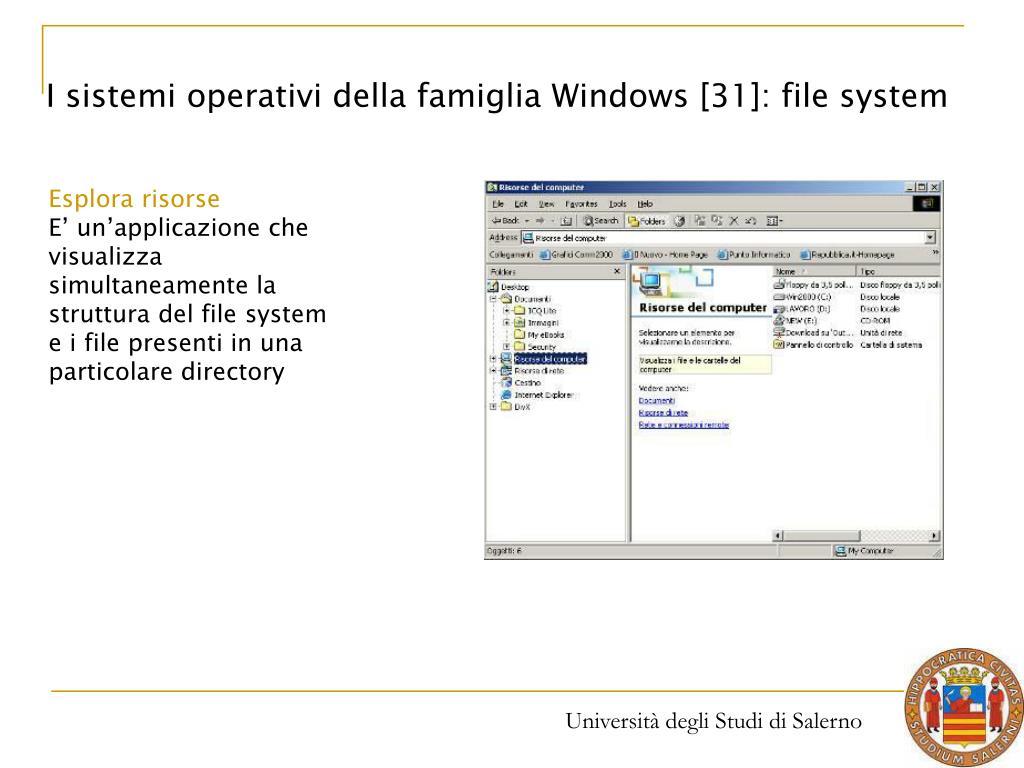 I sistemi operativi della famiglia Windows [31]: file system