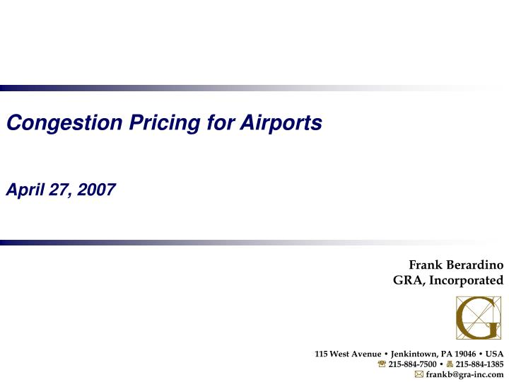 Congestion Pricing for Airports
