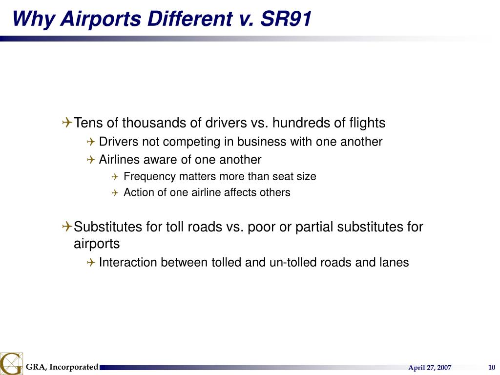 Why Airports Different v. SR91