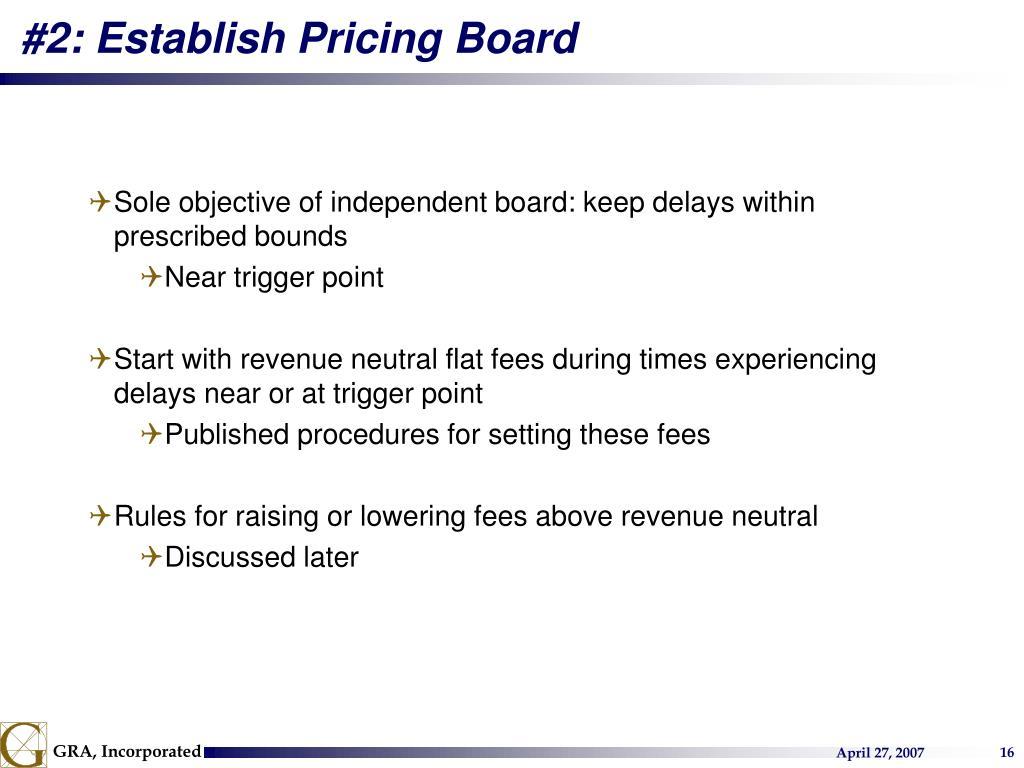 #2: Establish Pricing Board