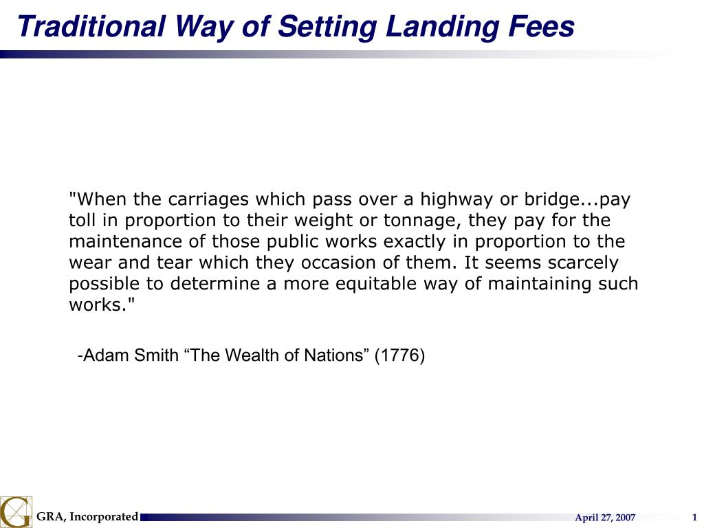 Traditional Way of Setting Landing Fees