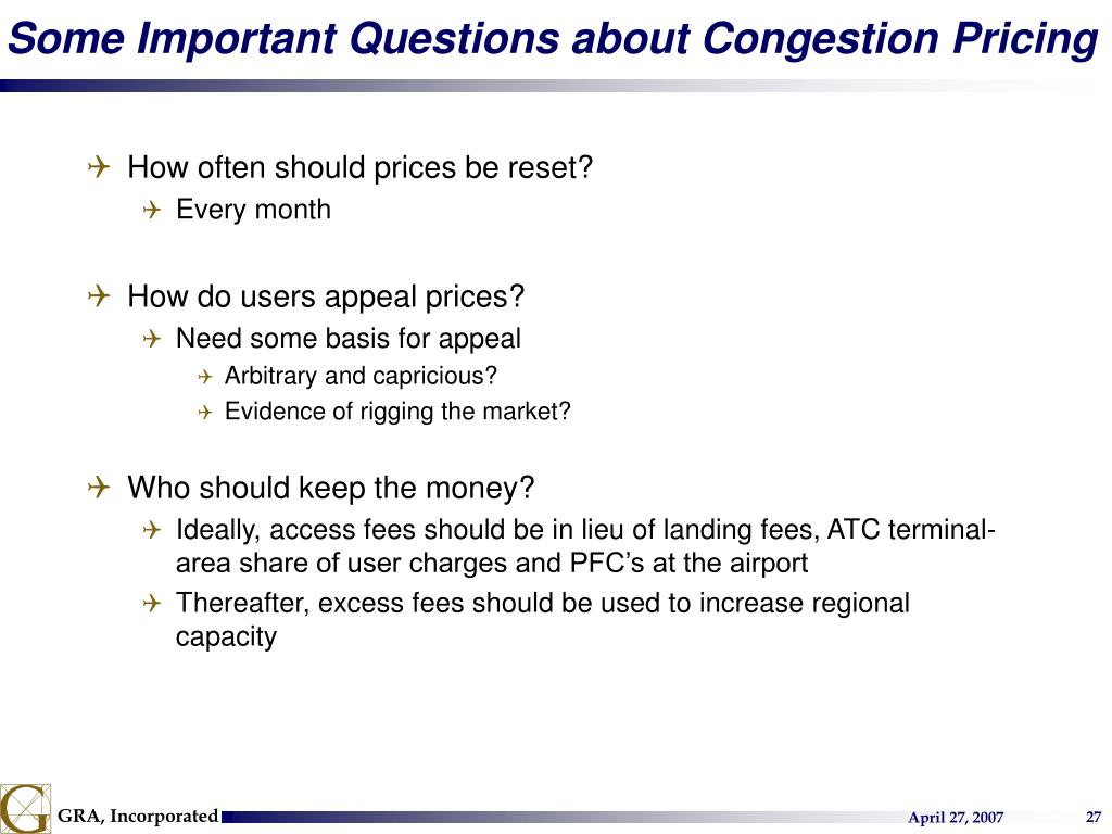 Some Important Questions about Congestion Pricing