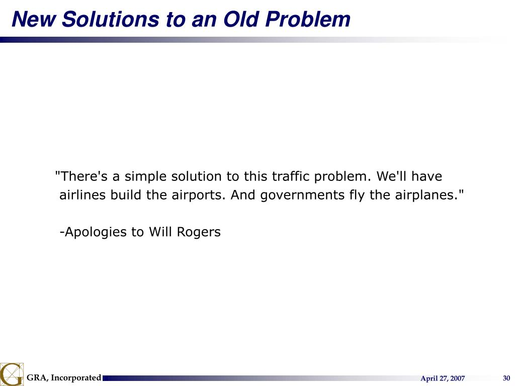 New Solutions to an Old Problem