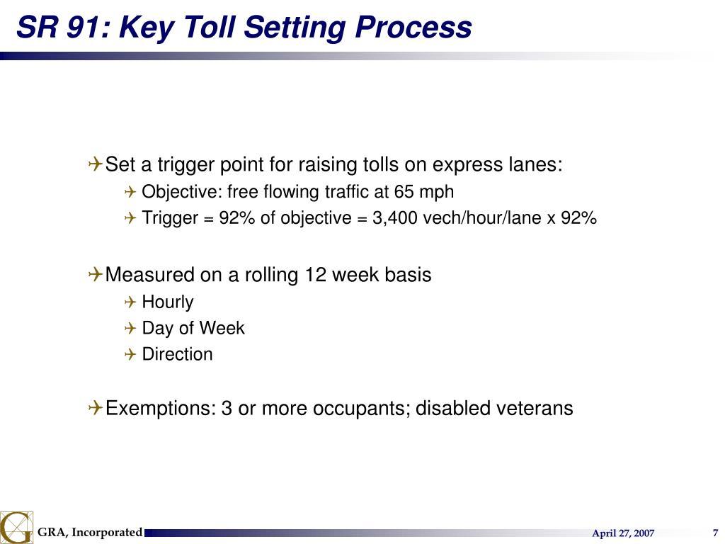SR 91: Key Toll Setting Process