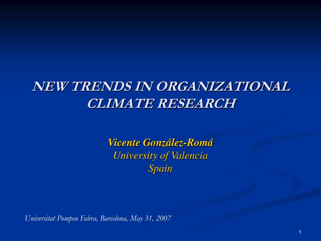 new trends in organizational climate research