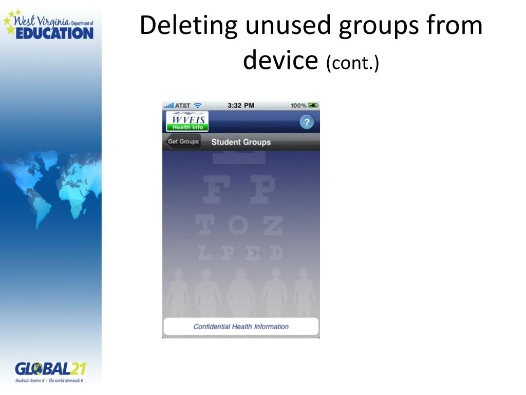 Deleting unused groups from device