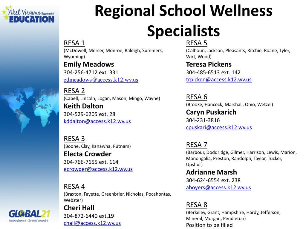 Regional School Wellness Specialists