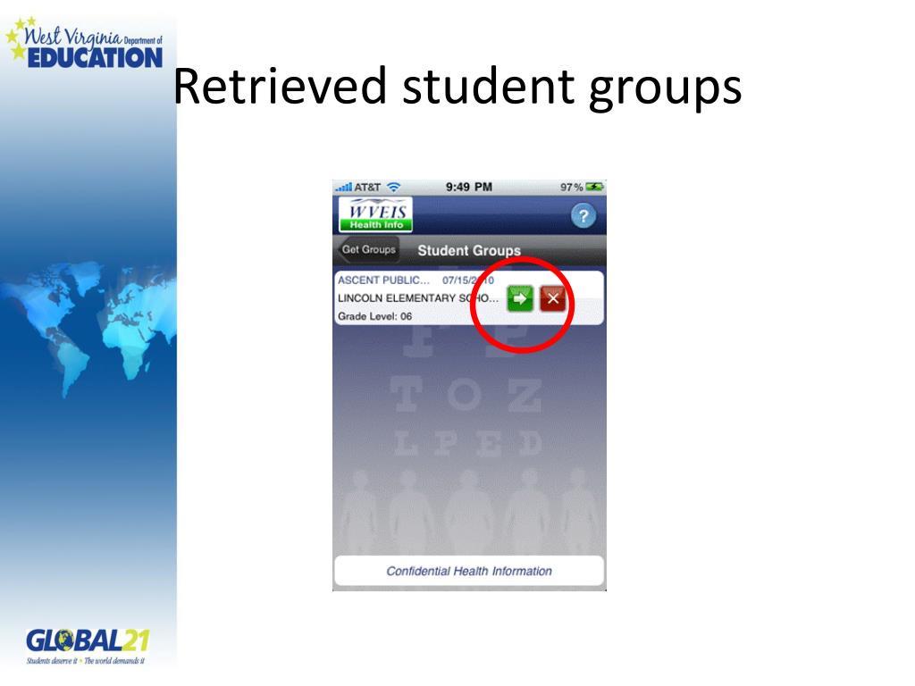 Retrieved student groups