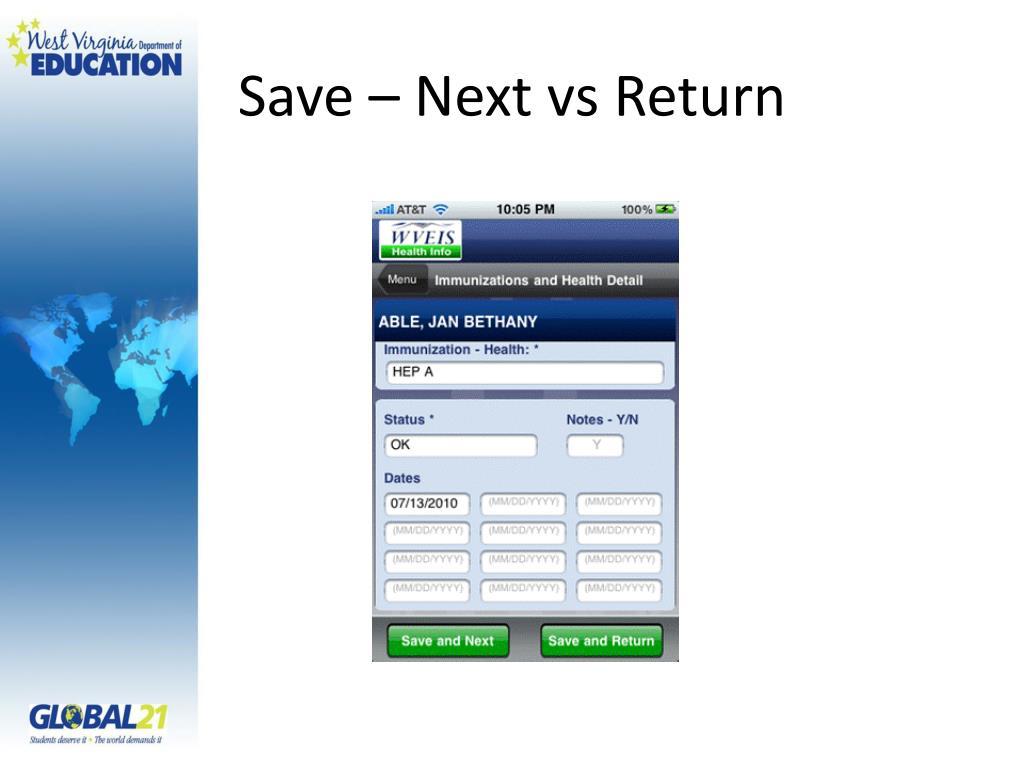 Save – Next
