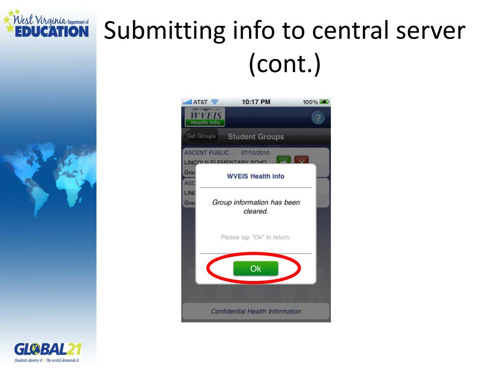 Submitting info to central server (cont.)