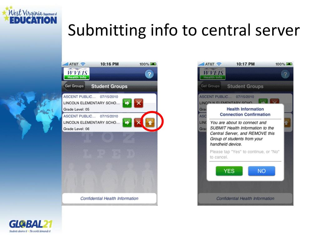Submitting info to central server