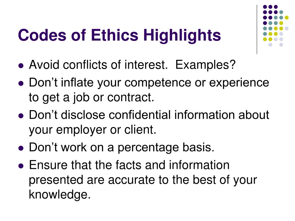 Codes of Ethics Highlights