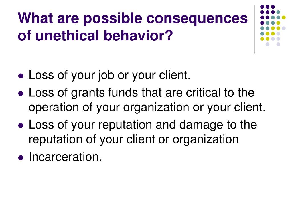 What are possible consequences of unethical behavior?