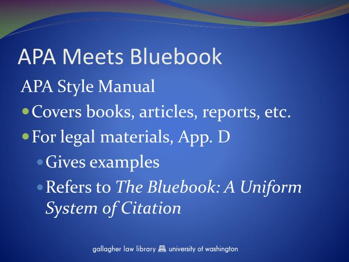 Apa meets bluebook