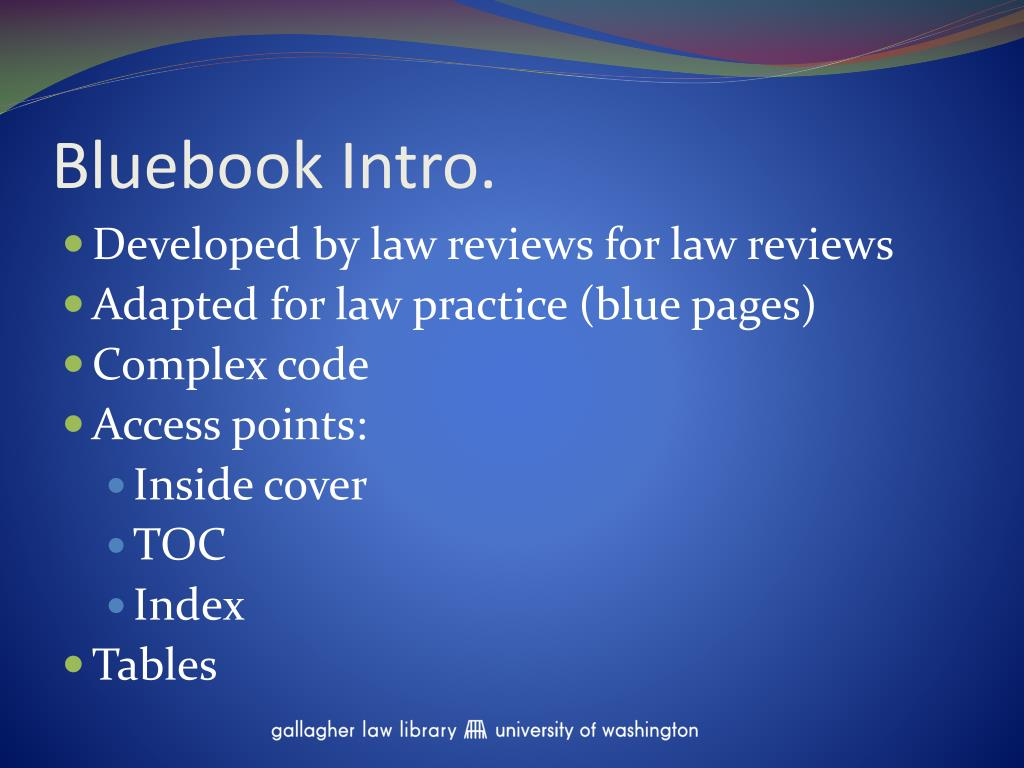 Bluebook Intro.