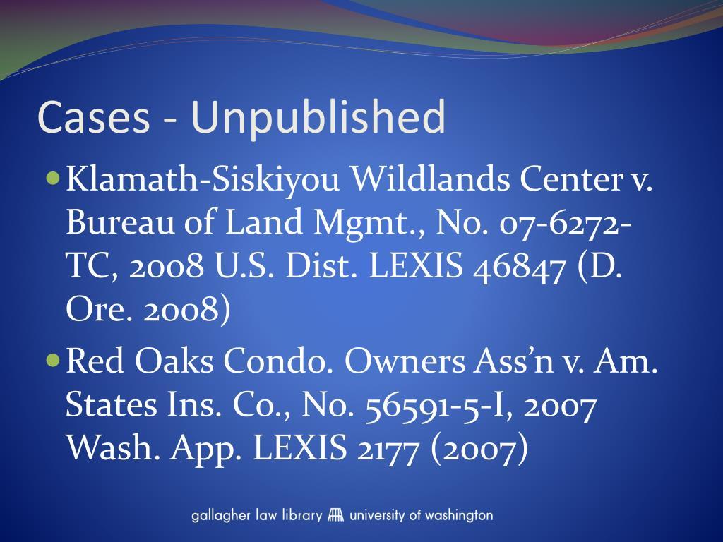 Cases - Unpublished