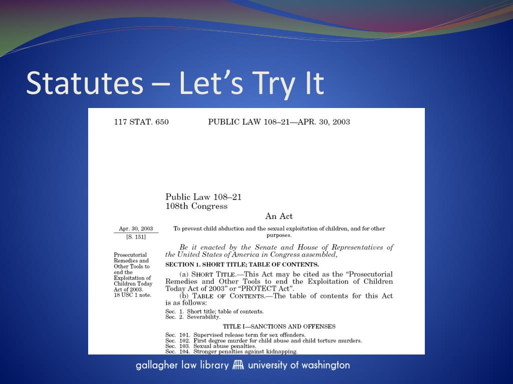 Statutes – Let's Try It