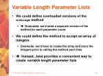 variable length parameter lists16